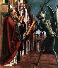 Бес, падший Ангел («Дьявол, протягивающий молитвенник св. Вольфгангу». работы Михаэля Пахера. 1486.)