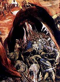 Демон Левиафан (Эль Греко. «Врата ада в виде пасти левиафана». Фрагмент картины «Сон Филиппа II». 1579. Эскориал. Испания.)